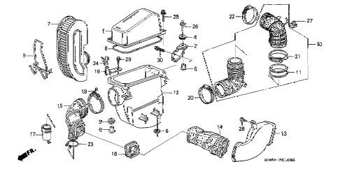 1989 LEGEND LS 2 DOOR 4AT AIR CLEANER diagram