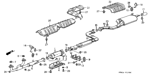 1990 LEGEND STD 2 DOOR 5MT EXHAUST SYSTEM diagram