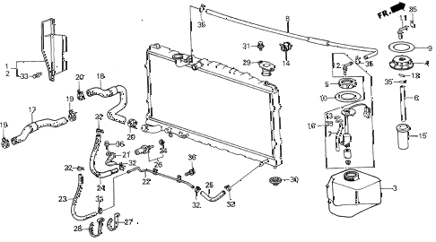 1987 LEGEND L 2 DOOR 5MT RADIATOR HOSE diagram