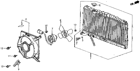 1989 LEGEND LS 2 DOOR 4AT RADIATOR (DENSO) diagram