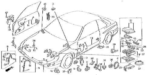 1987 LEGEND LS 2 DOOR 5MT WIRE HARNESS (FR.) diagram