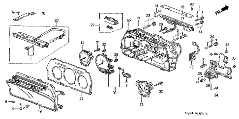 1988 LEGEND L 2 DOOR 5MT SPEEDOMETER COMPONENTS diagram