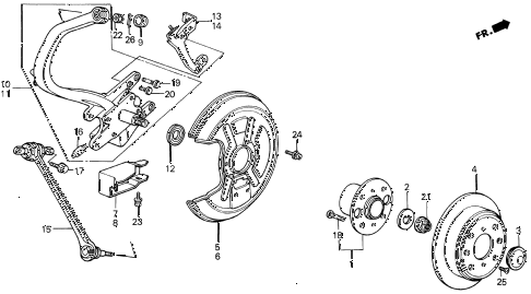 1990 LEGEND STD 2 DOOR 5MT REAR KNUCKLE - BRAKE DISK diagram