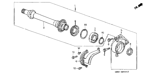 1989 LEGEND LS 2 DOOR 5MT HALF SHAFT diagram