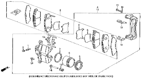 1990 LEGEND L 2 DOOR 5MT FRONT BRAKE CALIPER diagram