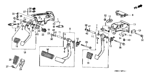 1987 LEGEND STD 2 DOOR 4AT BRAKE @ CLUTCH PEDAL diagram