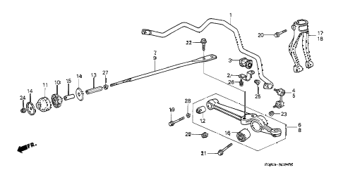 1989 LEGEND STD 2 DOOR 5MT FRONT LOWER ARM diagram