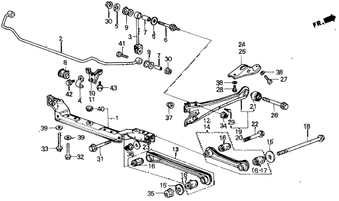 1987 LEGEND LS 2 DOOR 4AT REAR LOWER ARM diagram