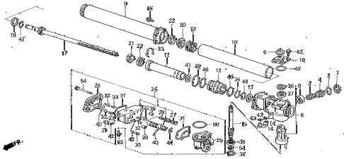 1988 LEGEND LS 2 DOOR 4AT P.S. GEAR BOX COMPONENTS diagram