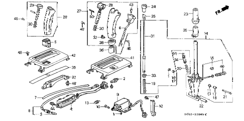 1988 LEGEND LS 2 DOOR 4AT SELECT LEVER diagram