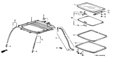 1988 LEGEND LS 2 DOOR 4AT SLIDING ROOF PANEL diagram