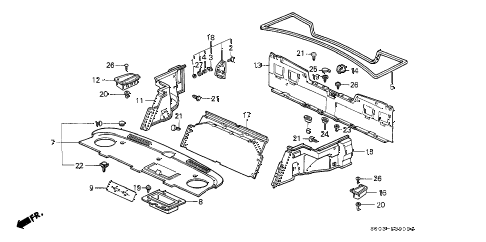 1989 LEGEND LS 2 DOOR 4AT TRUNK SIDE GARNISH diagram