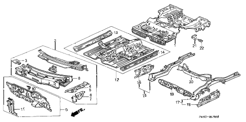 1988 LEGEND LS 2 DOOR 4AT DASHBOARD - FLOOR diagram