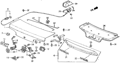 1987 LEGEND STD 2 DOOR 5MT TRUNK LID diagram