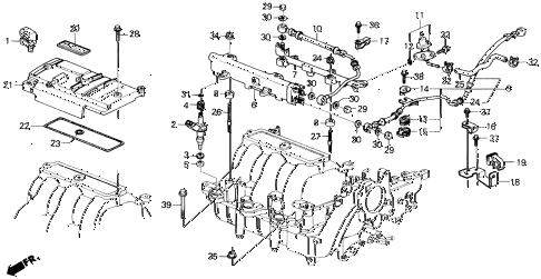 1990 LEGEND L 2 DOOR 5MT FUEL INJECTOR diagram
