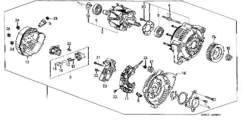 1987 LEGEND STD 2 DOOR 4AT ALTERNATOR (DENSO) diagram