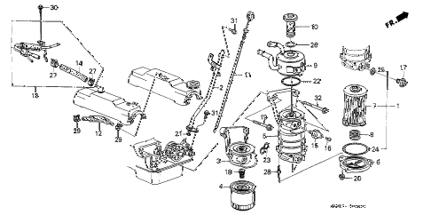 1987 LEGEND STD 2 DOOR 5MT OIL COOLER - OIL FILTER diagram
