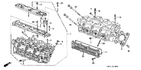 1987 LEGEND STD 2 DOOR 4AT CYLINDER HEAD (FR.) diagram