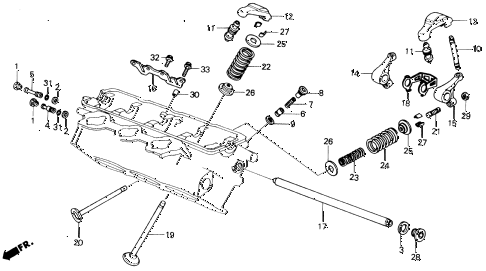 1989 LEGEND LS 2 DOOR 4AT VALVE - ROCKER ARM (RR.) diagram