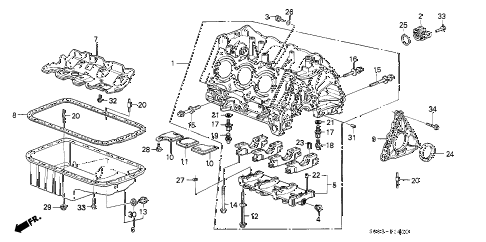 1989 LEGEND STD 2 DOOR 5MT CYLINDER BLOCK diagram