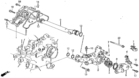 1988 LEGEND STD 2 DOOR 5MT WATER PUMP diagram