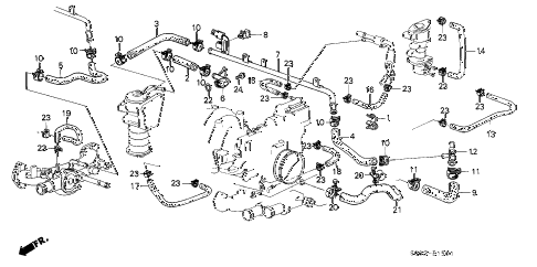 1988 LEGEND L 2 DOOR 5MT OIL COOLER HOSE diagram