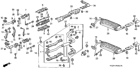 1993 INTEGRA RS 3 DOOR 4AT EXHAUST SYSTEM diagram