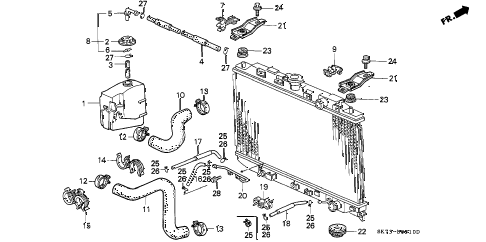1991 INTEGRA RS 3 DOOR 4AT RADIATOR HOSE diagram