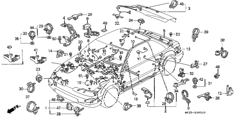 1991 INTEGRA LS 3 DOOR 5MT WIRE HARNESS diagram