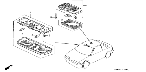 1992 INTEGRA RS 3 DOOR 5MT INTERIOR LIGHT diagram