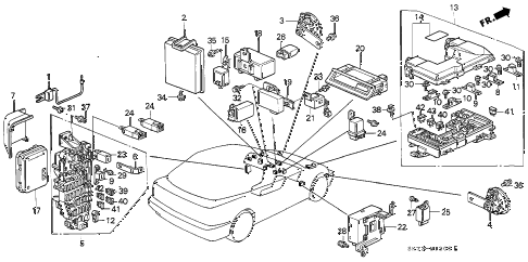 1993 INTEGRA LS 3 DOOR 5MT FUSE BOX - RELAY diagram