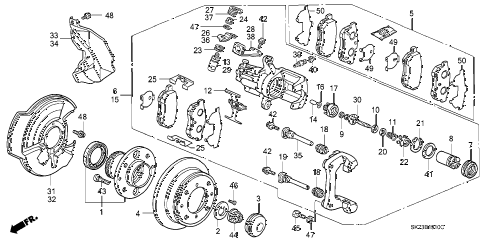 1993 INTEGRA LS 3 DOOR 4AT REAR BRAKE diagram