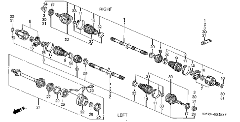 1990 INTEGRA GS 3 DOOR 5MT DRIVESHAFT diagram