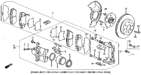 1990 INTEGRA LS 3 DOOR 4AT FRONT BRAKE diagram