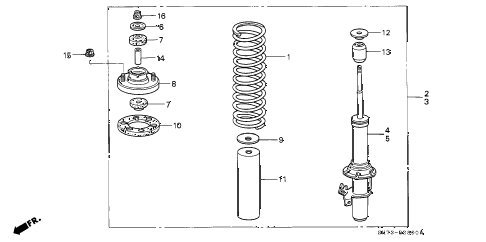 1993 INTEGRA RS 3 DOOR 4AT FRONT SHOCK ABSORBER diagram