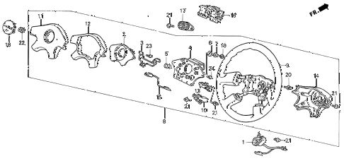 1992 INTEGRA LS 3 DOOR 5MT STEERING WHEEL (2) diagram