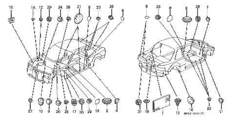 1990 INTEGRA GS 3 DOOR 5MT GROMMET diagram