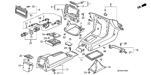 1990 INTEGRA GS 3 DOOR 5MT CONSOLE diagram