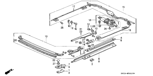 1991 INTEGRA GS 3 DOOR 4AT ROOF MOTOR diagram
