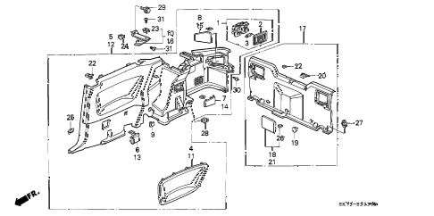 1990 INTEGRA LS 3 DOOR 4AT REAR SIDE LINING diagram