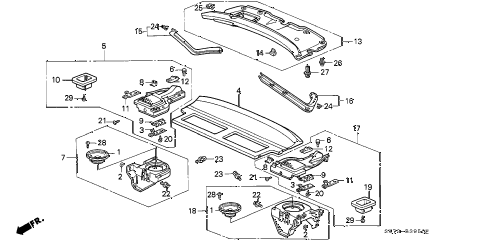 1990 INTEGRA RS 3 DOOR 4AT REAR SHELF diagram