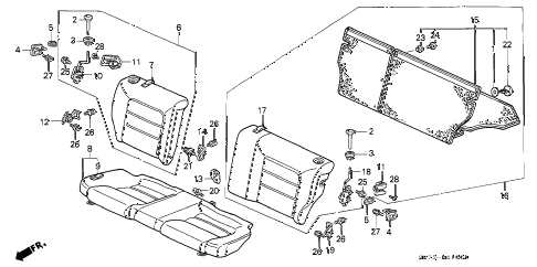 1992 INTEGRA RS 3 DOOR 5MT REAR SEAT diagram