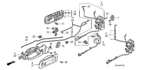 1993 INTEGRA RS 3 DOOR 5MT FRONT DOOR LOCKS diagram