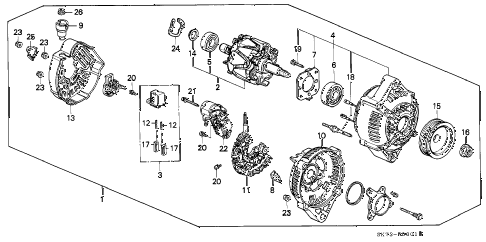 1990 INTEGRA LS 3 DOOR 4AT ALTERNATOR (DENSO) (1) diagram
