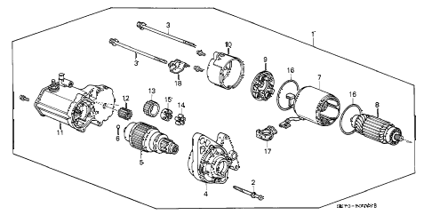 1990 INTEGRA RS 3 DOOR 4AT STARTER MOTOR (DENSO) (1) diagram
