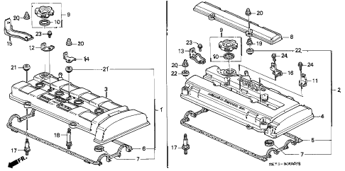 1993 INTEGRA RS 3 DOOR 4AT CYLINDER HEAD COVER diagram