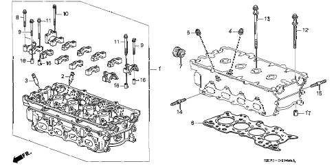 1990 INTEGRA RS 3 DOOR 4AT CYLINDER HEAD (1) diagram