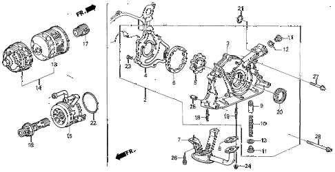 1993 INTEGRA RS 3 DOOR 5MT OIL PUMP - OIL STRAINER diagram