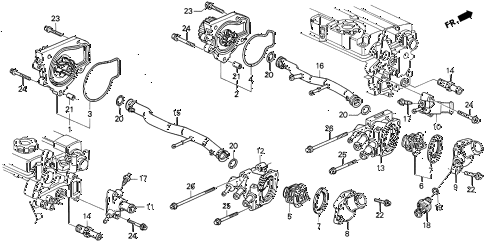 1990 INTEGRA GS 3 DOOR 5MT WATER PUMP diagram