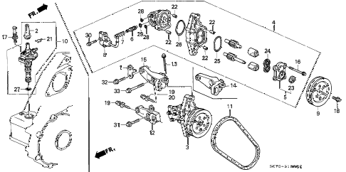 1991 INTEGRA RS 3 DOOR 4AT P.S. PUMP diagram